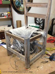 2 - as-stringing-one-chair-of-field Magazine Rack, Cabinet, Chair, Storage, Diy, Furniture, Home Decor, Sisal, Chairs