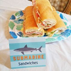 Submarine sandwiches at a shark birthday party! See more party ideas at CatchMyParty.com!