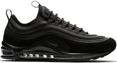 Buy and sell authentic Nike Air Max 97 Ultra 17 SE Triple Black shoes and thousands of other Nike sneakers with price data and release dates. All Black Nike Shoes, Neon Nike Shoes, Baby Nike Shoes, Black Nike Sneakers, Nike Shoes For Sale, Black Nikes, Air Max Sneakers, Nike Air Max, Mens Nike Air
