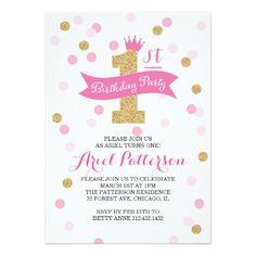 Birthday Party   First Birthday Princess Card