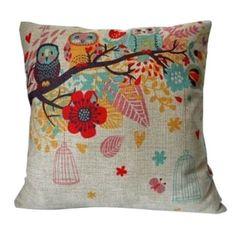 Vintage Home Decor Cotton Linen Throw Pillow Cover Flower Owl | Overstock.com Shopping - The Best Deals on Throw Pillows