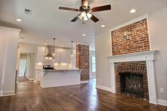 Memphis Cooper-Young reno; brick fireplace; vintage house.