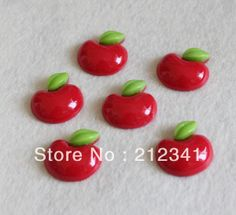 Wholesale Product Snapshot Product name is Free shipping 50 pcs kawaii red apple resin diy accessories 23*25mm