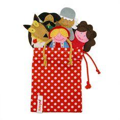 Little Red Riding Hood Finger Puppets Bag  5 Felt Finger by pukaca, $25.00