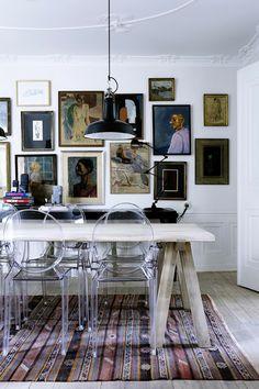 Mixing materials - Louis Ghost Chairs - Third Culture Cool: Stephanie Gundelach's Copenhagen Apartment
