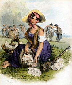 Gypsy woman.  English Lithograph, 1826