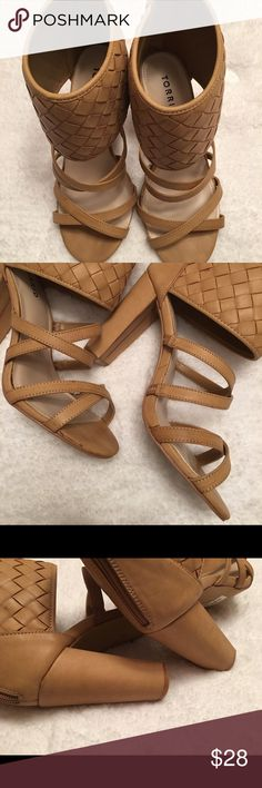 "Torrid Woven Block Heels, Size 9W Torrid Heels, 9W size, 4 1/8"" heel, with oversized quilted faux leather ankle cuff, the shoes are NWT but there are scuffs which I have already deducted for. torrid Shoes Heels"