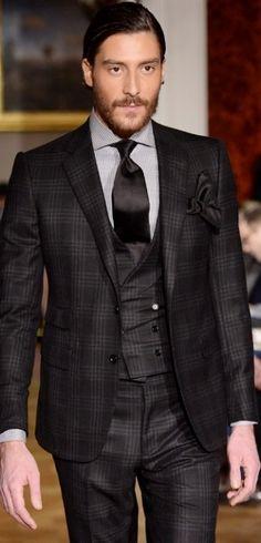 Tonal black 3 piece Wedding suit