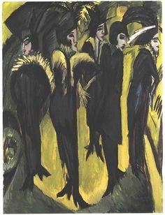 """""""Cinq femmes dans la rue"""" d'Ernst Ludwid Krichner.  Fiche technique: .Cinq femmes dans la rue .Ernst Ludwid Krichner .1913 .Huile sur toile .H:120 x L:90 cm .Musée Ludwig, Cologne Biographie: Artiste allemand (1880-1938) à  qui peint sont mépris par rapport au sujet. Selon lui, si le mal existe, il faut le représenter. Ainsi, Ludwig déforme ses sujets et remplacent les couleurs d'origines par des couleurs inventées de façon a créer un effet de drame dans ses compositions."""