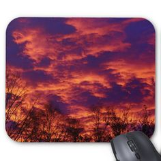 Dawn Of A New Day Standard Mouse Pads by KJacksonPhotography --  Taken 10.28.2014 The early morning's brilliant red to golden clouds and blue-purplish hues of the sky at dawn.  Ever-changing nature.PC:250.291  #mousepad #mousepads #dawn #sunrise #maine