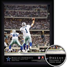 Dallas Cowboys NFL Football - Personalized QB Action Hero Print / Picture. Thrilling game-day photos make your greatest football fan the on-field hero with our Personalized NFL Dallas Cowboys Action Hero Prints. Our most exciting sports print displays your name in true-life NFL photographs as YOU make game-winning manoeuvres. Optional framing with mat is available. Perfect for gifts, rec room, man cave, office, child's room, etc. ( www.oakhousesportsprints.com )