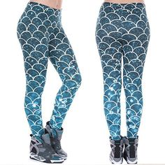 f43330cdea5c1 Womens Mermaid Fish Scale High Waist Leggings Fitness Stretch Yoga Sport  Pants Fish Scales, Athletic
