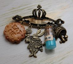 Alice in Wonderland Jewelry BROOCH with fimo cake Eat Me and glass bottle Drink me Vintage turquoise handmade Gift