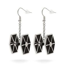 Licensed Star Wars Stainless Steel Tie Fighter Dangle Earrings