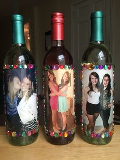 Decorated Photo Wine Bottle Roommate Gift For Friends