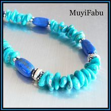 Turquoise and Lapis Sterling Silver Necklace