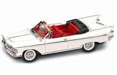 Pre-Built Model Ground Vehicles - 1961 Chrysler Imperial Crown Convertible White  Yatming 20138  118 Scale Diecast Model Toy Car -- Click image for more details.