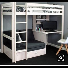 High Sleeper Bed with Desk and sofa Bed . High Sleeper Bed with Desk and sofa Bed . High Sleeper Bed Frame Fixed Desk Corner Cushions Grey Bunk Bed Designs, Girl Bedroom Designs, Room Ideas Bedroom, Small Room Bedroom, Bedroom Loft, Master Bedroom, Modern Bedroom, Contemporary Bedroom, Bedroom Romantic