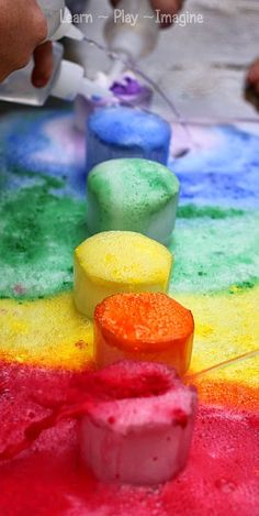 Gorgeous FROZEN rainbow eruptions - chilly science for kids from @LearnAsWeGo