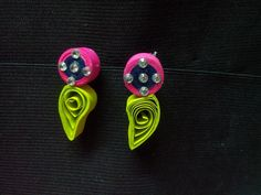 Quilled pink with fluorescent earring