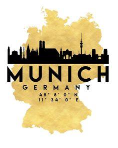 MUNICH GERMANY SILHOUETTE SKYLINE MAP ART von deificusArt
