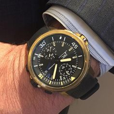 "IWC Aquatimer Chronograph Edition ""Expedition Charles Darwin"" 44MM Watch, Fashioned in Bronze, Featuring a Black Dial, Black Rubber Strap and Automatic Movement"