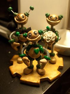 Robot Wedding Cake Topper | Rustic Gold and Green via theawesomerobots.com