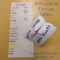 SLPs, need a quick activity for articulation?  Have your artic student students make fortune tellers (aka cootie catchers) with their target words and sentences!