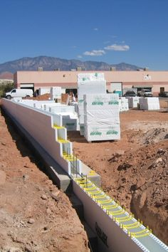 ICF Wall with Stepped Footing. Photos of Construction Details with Insulated Concrete Forms