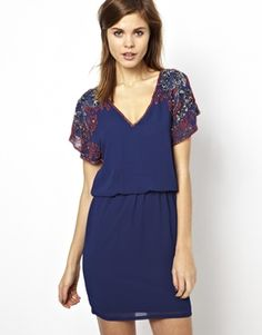 Warehouse Embellished Shoulder Dress