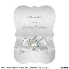 Pearl Diamond Lace White Bow Damask Silver Party 5x7 Paper Invitation Card