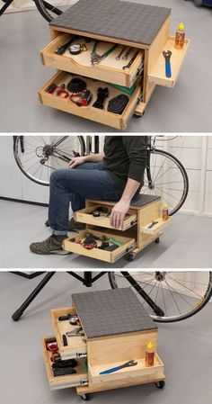 Rolling Work Seat and Tool Storage Cart - wood .-Rolling Work Seat and Tool Storage Cart – wood working plans Rolling Work Seat and Tool Storage Cart - Garage Tool Storage, Workshop Storage, Garage Tools, Workshop Ideas, Workshop Design, Wood Workshop, Lumber Storage, Wood Storage, Diy Garage Work Bench