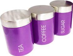 Set of 3 Purple Tea Coffee Sugar Storage Canisters Kitchen Accessories: Amazon.co.uk: Kitchen & Home