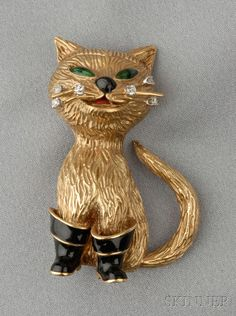 "18 Kt. Gold, Enamel, and Diamond ""Puss in Boots"" Brooch."