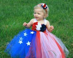 4th of july tutu dress and matching headband size newborn to 9 years