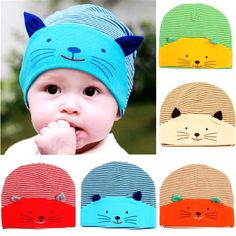 ideacherry New Hot Fashion Winter Baby cap New Lovely Cute Baby Boy Toodler Striped Cotton Cap Cat Baby Beanies Accessories Cartoon Ears, Kitten Cartoon, Cute Baby Boy, Baby Kind, Fleece Hats, Cotton Beanie, Baby Winter, Girl With Hat, Sewing For Kids