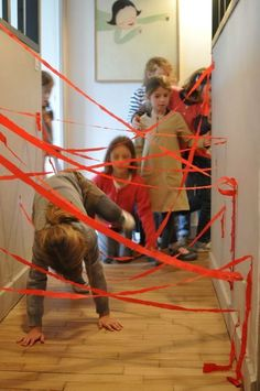 Ninja party - laser hallway activity Can we do this for my next birthday? Activities For Boys, Games For Kids, Diy For Kids, Crafts For Kids, Spy Kids, Ninja Birthday Parties, Ninjago Party, Turtle Party, Fun Games