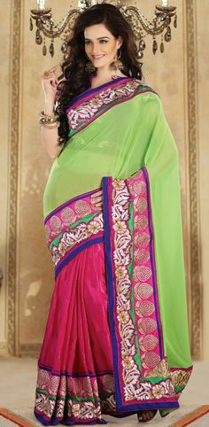 Pink and Green Silk With Viscose Georgette Embroidered Saree - IG8206 USD $ 154.09
