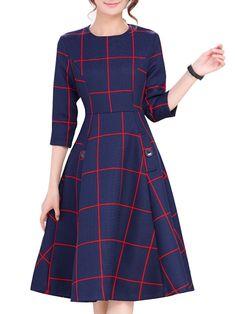 Excellent Round Neck Falbala Plaid Skater-dress Skater Dresses from fashionmia.com