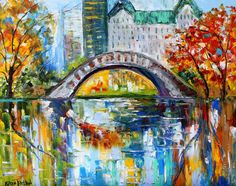 Original oil painting New York Central Park abstract palette knife impressionism on canvas fine art by Karen Tarlton