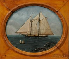 American School, Late 19th Century Portrait of a Yacht. | Auction 2880B | Lot 431 | Sold for $554