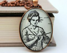 "book pendant - My Antonia Willa Cather ""knitting woman"""