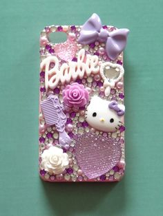 Handmade 'Sunshine and Showers' Barbie, Hello Kitty, Heart, Bow, Roses Lilac and Pink i Phone 4 Case (Design Available for Other Cases).   https://www.etsy.com/listing/101817769/handmade-sunshine-and-showers-barbie