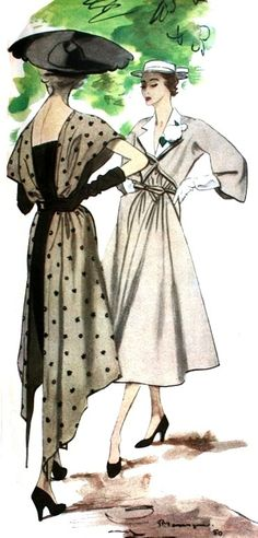 Elegant dresses by Bruyère and Robert Piguet illustrated by Pierre Mourgue, 1950