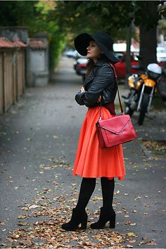 Discover this look wearing Orange Midi River Island Skirts, Black Ankle Zara Boots, Black Floppy H&M Hats - Rust, burgundy and orange by Chaba styled for Chic, Everyday in the Fall My Wardrobe, Wardrobe Staples, Dress Skirt, Midi Skirt, River Island Skirts, Zara Boots, Skirts With Boots, Orange Skirt, Winter Dresses