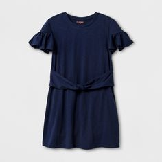 Girls' Short Sleeve Knit Tie Dress - Cat & Jack Navy XS, Blue