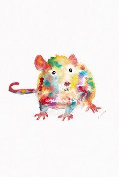 Rainbow Rat 5x7Watercolor Painting Art Print by Littlecatdraw, $8.00