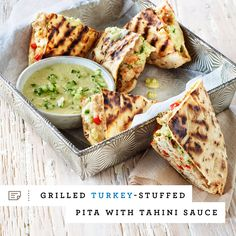Go beyond the burger bun and give this Grilled Turkey-Stuffed Pita recipe a try at your next grill-out.