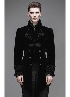 Devil Fashion Mens Gothic Storm Velvet Jacket