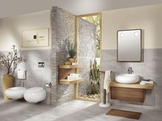 carrelage aspect marbre et salle de bains en matériaux naturels